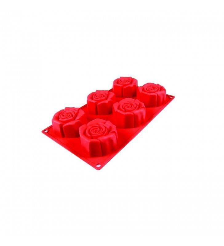 Stampo in silicone rosa fiorita 6 porzioni Pavonidea FR056