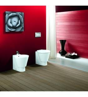 Set bidet e wc con sedile a terra serie stilo. Design moderno ed elegante. Rak Ceramics setstiloterra