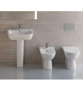 Set sanitari filo muro con lavabo con semicolonna gemma 2 di ceramica dolomite Idrobric setgemma2filomuro