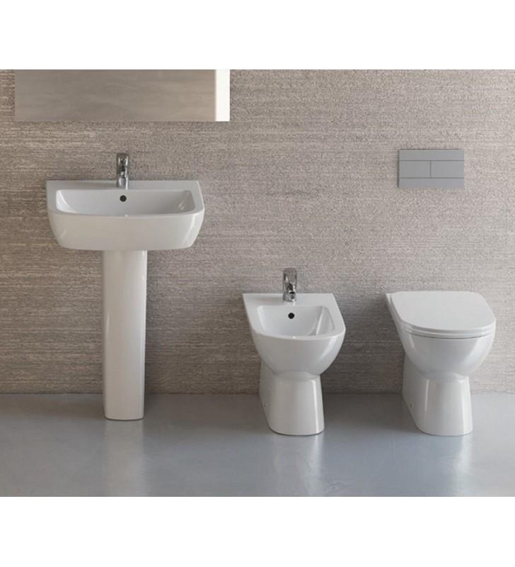 Lavabi In Ceramica Dolomite.Set Sanitari Filo Muro Con Lavabo Con Semicolonna Gemma 2 Di Ceramica Dolomite